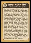 1968 Topps #183  Bob Kennedy  Back Thumbnail