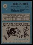 1964 Philadelphia #23  Richie Petitbon  Back Thumbnail