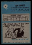 1964 Philadelphia #6   Tom Matte  Back Thumbnail