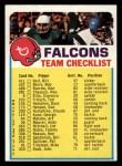 1973 Topps FB Team Checklist #1  Falcons Team Checklist  Front Thumbnail