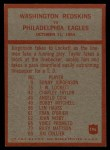 1965 Philadelphia #196  Washington Redskins  -  Bill McPeak  Back Thumbnail