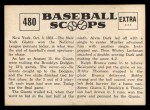 1961 Nu-Card Scoops #480   Bobby Thomson Back Thumbnail
