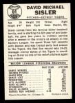 1960 Leaf #64  Dave Sisler  Back Thumbnail