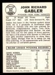 1960 Leaf #62  John Gabler  Back Thumbnail