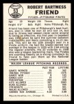 1960 Leaf #53  Bob Friend  Back Thumbnail
