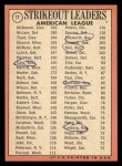 1969 Topps #11   -  Sam McDowell / Denny McLain / Luis Tiant AL Strikeout Leaders   Back Thumbnail