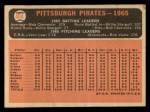 1966 Topps #404 COR Pirates Team  Back Thumbnail