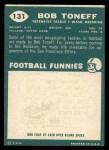 1960 Topps #131   Bob Toneff Back Thumbnail