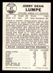 1960 Leaf #47  Jerry Lumpe  Back Thumbnail