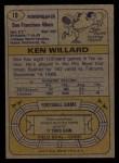 1974 Topps #19   Ken Willard Back Thumbnail