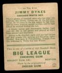 1933 Goudey #6   Jimmy Dykes Back Thumbnail