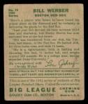 1934 Goudey #75   Bill Werber Back Thumbnail