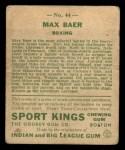 1933 Goudey Sport Kings #44   Max Baer  Back Thumbnail