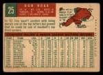 1959 Topps #25   Don Hoak Back Thumbnail