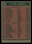 1975 Topps #311  ERA Leaders  -  Catfish Hunter / Buzz Capra Back Thumbnail
