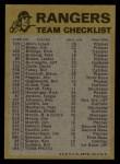 1974 Topps Red Team Checklists #24  Rangers Team Checklist  Back Thumbnail