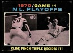 1971 Topps #199  1970 NL Playoffs - Game 1 - Cline Pinch-Triple Decides It  -  Ty Cline / Rich Hebner Front Thumbnail