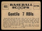 1961 Nu-Card Scoops #401   Jim Gentile Back Thumbnail