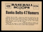 1961 Nu-Card Scoops #420   Ernie Banks   Back Thumbnail