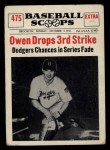 1961 Nu-Card Scoops #475    Mickey Owen  Front Thumbnail
