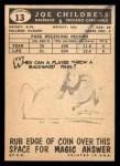 1959 Topps #13   Joe Childress Back Thumbnail
