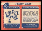 1968 Topps #44  Terry Gray  Back Thumbnail