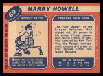 1968 Topps #69  Harry Howell  Back Thumbnail