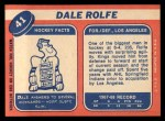 1968 Topps #41  Dale Rolfe  Back Thumbnail