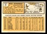 1963 Topps #34  Dick Schofield  Back Thumbnail