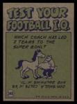 1972 Topps #340  Pro Action  -  Len Dawson Back Thumbnail