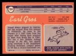 1970 Topps #184   Earl Gros Back Thumbnail