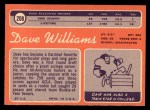 1970 Topps #208   Dave Williams Back Thumbnail
