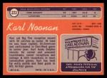 1970 Topps #223   Karl Noonan Back Thumbnail