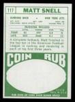 1968 Topps #117  Matt Snell  Back Thumbnail