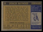 1971 Topps #20  Spencer Haywood   Back Thumbnail