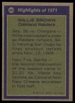 1972 Topps #285  All-Pro  -  Willie Brown Back Thumbnail