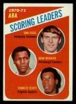 1971 Topps #146  ABA Scoring Leaders  -  John Brisker / Dan Issel / Charlie Scott Front Thumbnail