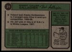 1974 Topps #21   Bob Gallagher Back Thumbnail