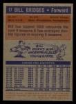 1972 Topps #17  Bill Bridges   Back Thumbnail