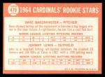 1964 Topps #479   Cardinals Rookie Stars  -  Dave Bakenhaster / Johnny Lewis Back Thumbnail