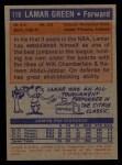 1972 Topps #119   Lamar Green  Back Thumbnail