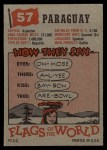 1956 Topps Flags of the World #57   Paraguay Back Thumbnail