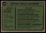 1974 Topps #531  Expos Field Leaders   -  Gene Mauch / Dave Bristol / Larry Doby / Cal McLish / Jerry Zimmerman Back Thumbnail