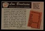 1955 Bowman #89  Lou Boudreau  Back Thumbnail