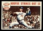 1964 Topps #136  1963 World Series - Game #1 - Koufax Strikes Out 15   -  Sandy Koufax Front Thumbnail