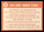 1964 Topps #408   Cubs Rookie Stars  -  Jim Stewart / Fred Burdette Back Thumbnail