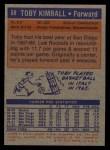 1972 Topps #68   Toby Kimball  Back Thumbnail
