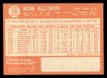 1964 Topps #290   Bob Allison Back Thumbnail