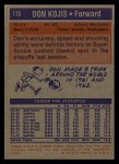 1972 Topps #116   Don Kojis  Back Thumbnail