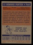 1972 Topps #127   Howard Porter  Back Thumbnail
